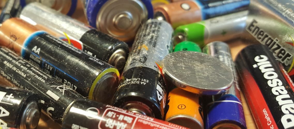 Pile of household batteries
